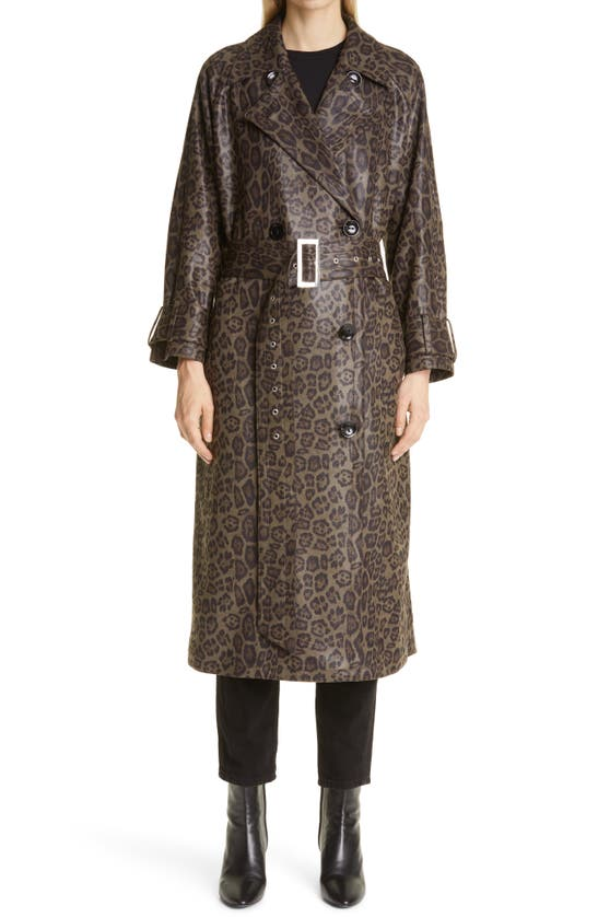 Stand Studio Clothing SHELBY ANIMAL PRINT FAUX LEATHER TRENCH COAT