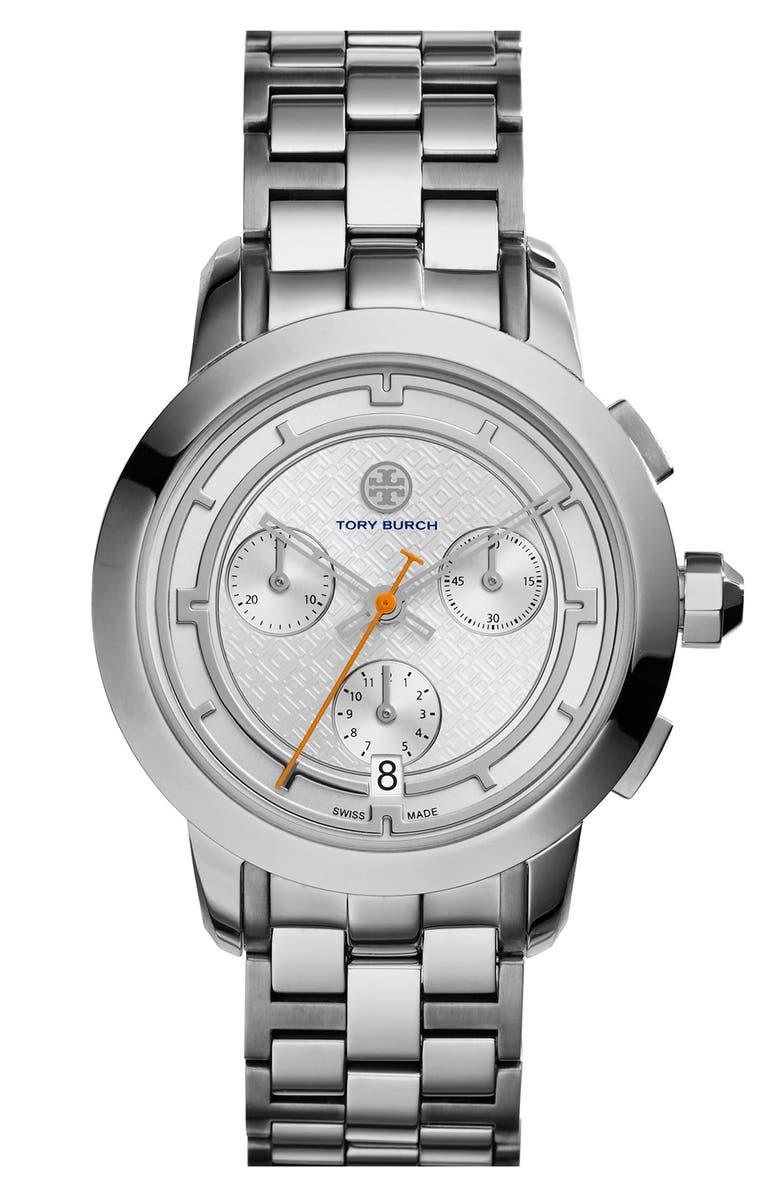 TORY BURCH 'Tory' Chronograph Bracelet Watch, 37mm, Main, color, 040