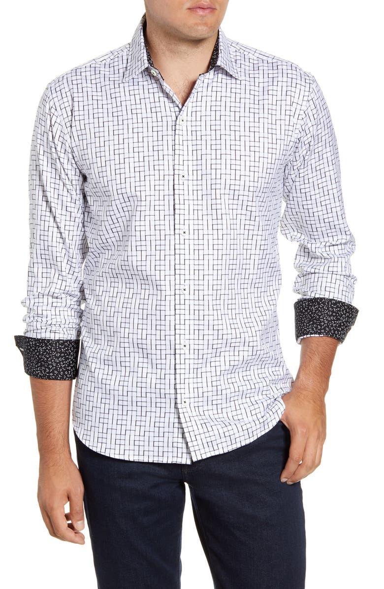 BUGATCHI Shaped Fit Print Button-Up Sport Shirt, Main, color, SNOW