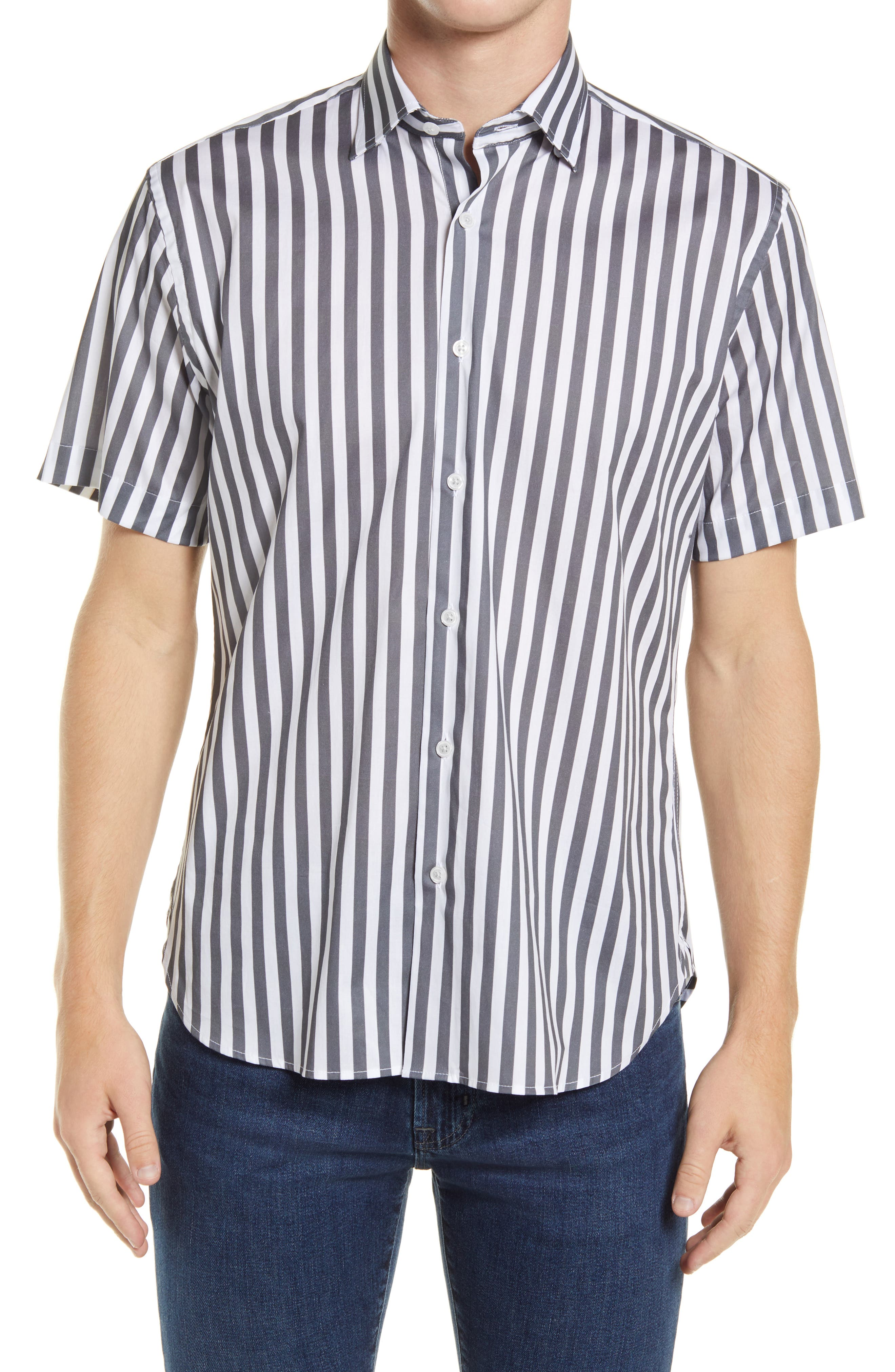 Racetrack Stripe Short Sleeve Stretch Button-Up Shirt
