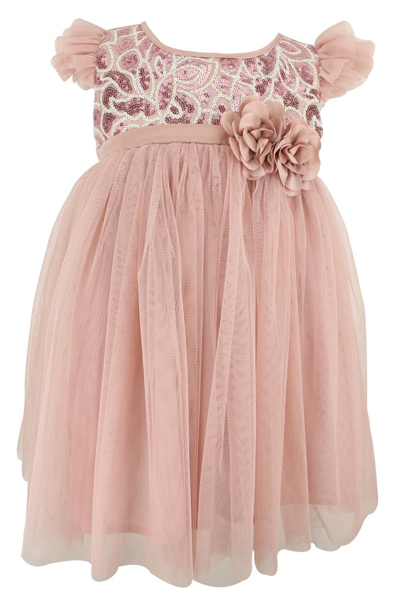 POPATU Sequin Embellished Tulle Dress, Main, color, DUSTY PINK