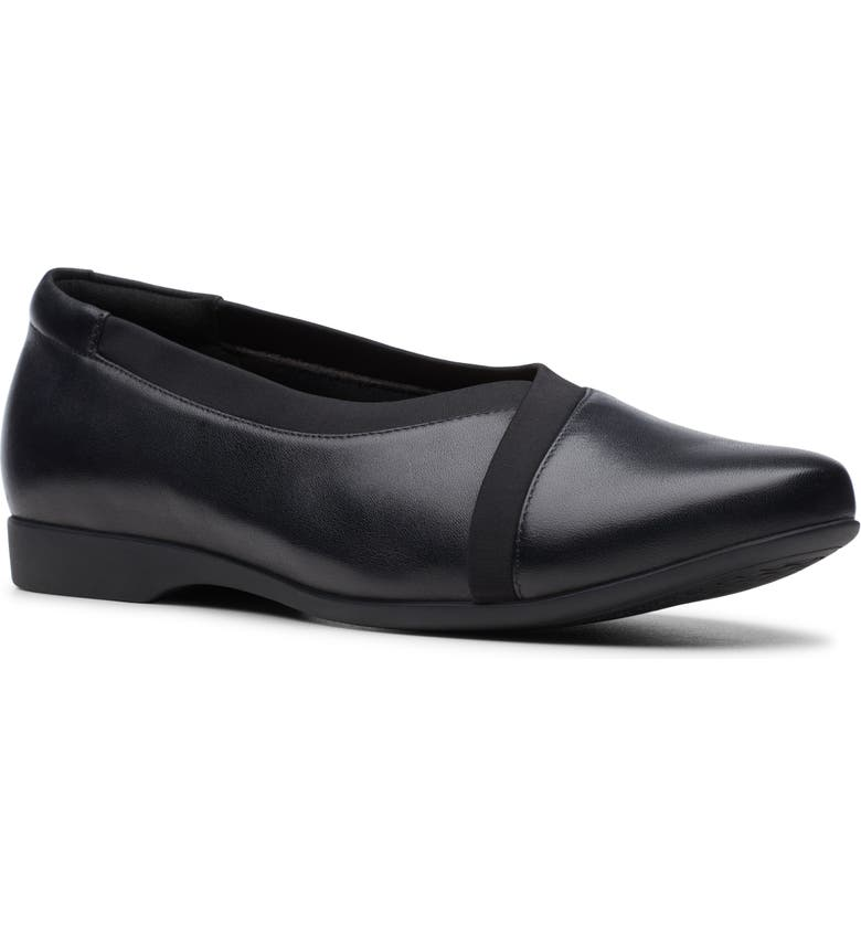 CLARKS<SUP>®</SUP> Un Darcey Ballet Flat, Main, color, BLACK LEATHER