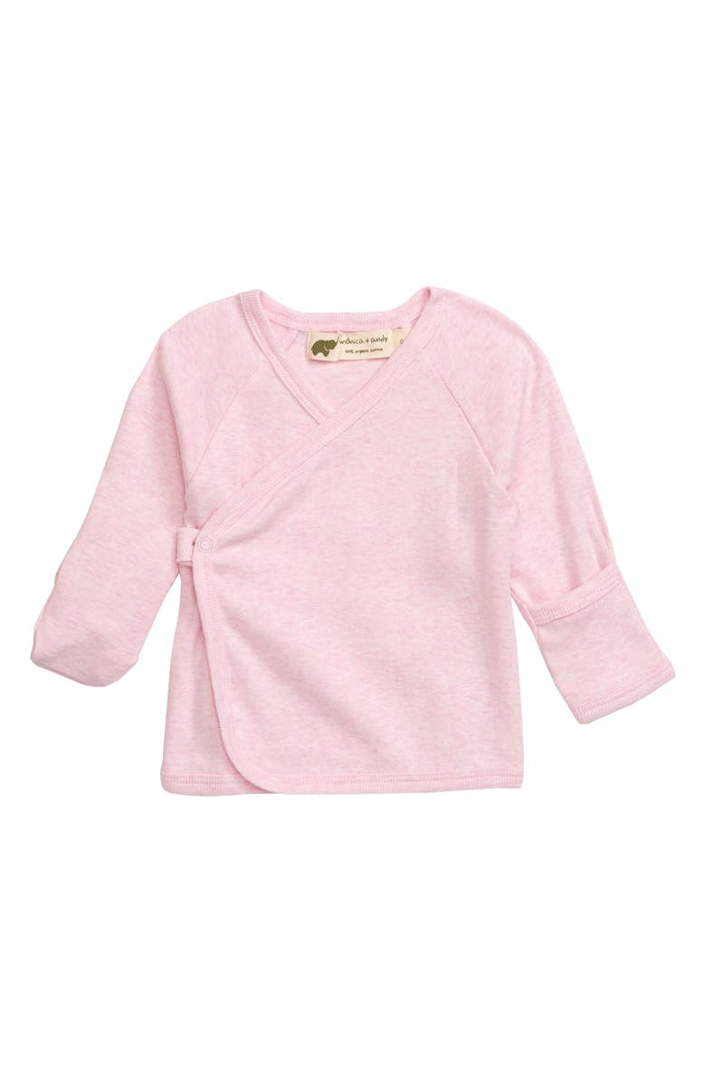 MONICA + ANDY Hello Organic Cotton Wrap Top, Main, color, PINK HEATHER