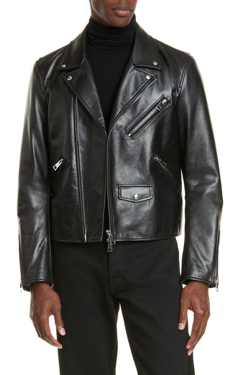 BOTTEGA VENETA Leather Moto Jacket, Main, color, NERO