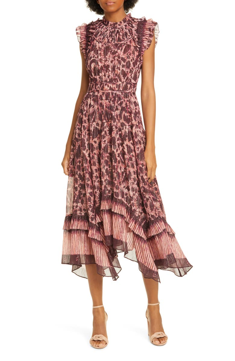 ULLA JOHNSON Amalia Metallic Stripe Ruffle Midi Dress, Main, color, 930