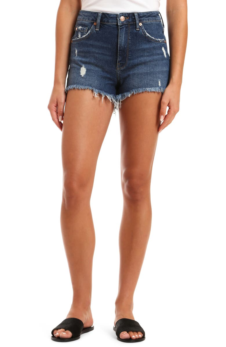 MAVI JEANS Rosie High Waist Boyfriend Cutoff Denim Shorts, Main, color, 401