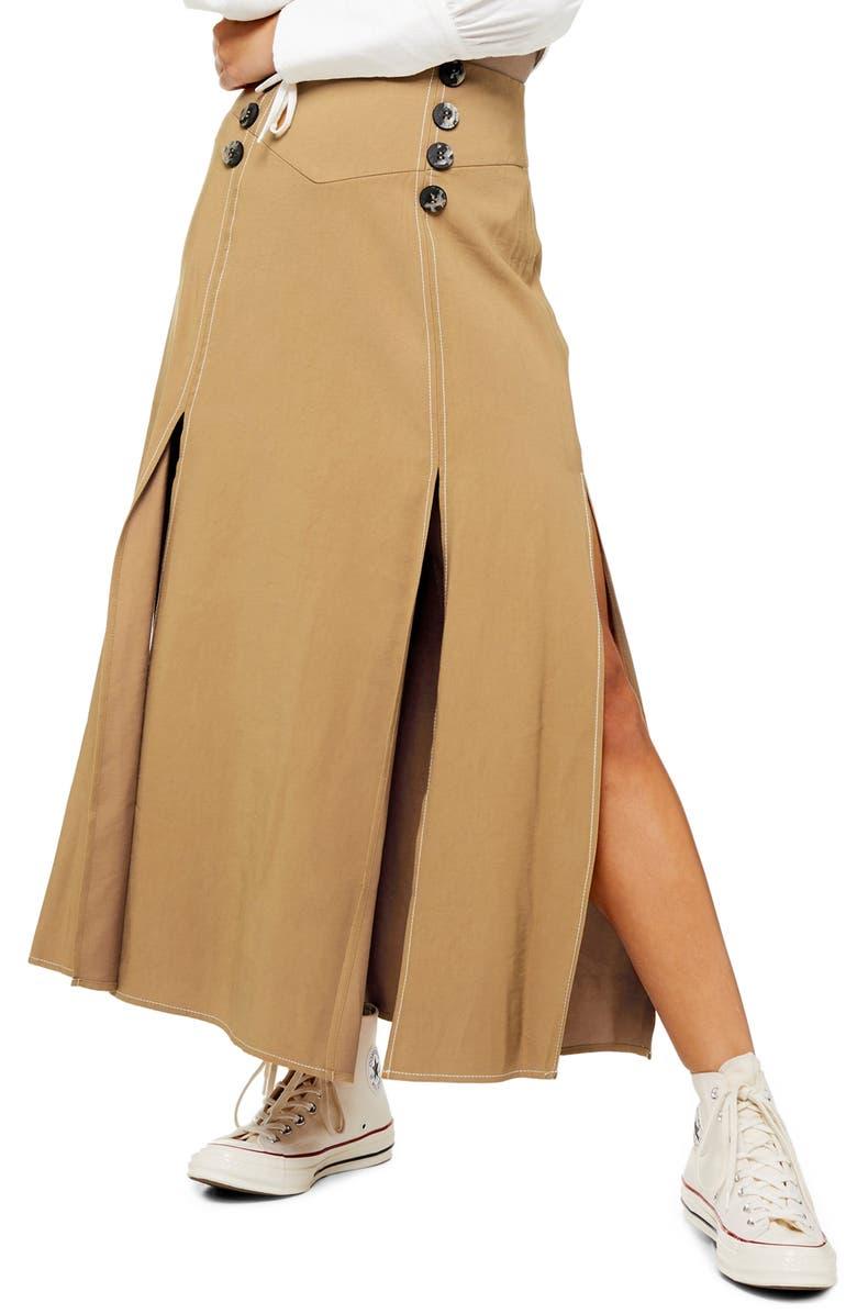 TOPSHOP Splice Button Front Midi Skirt, Main, color, TAN