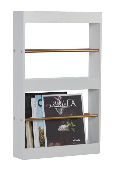 "Image of Willow Row Wood Metal Wall Magazine Rack - 16""L X 10""W X 26""H"
