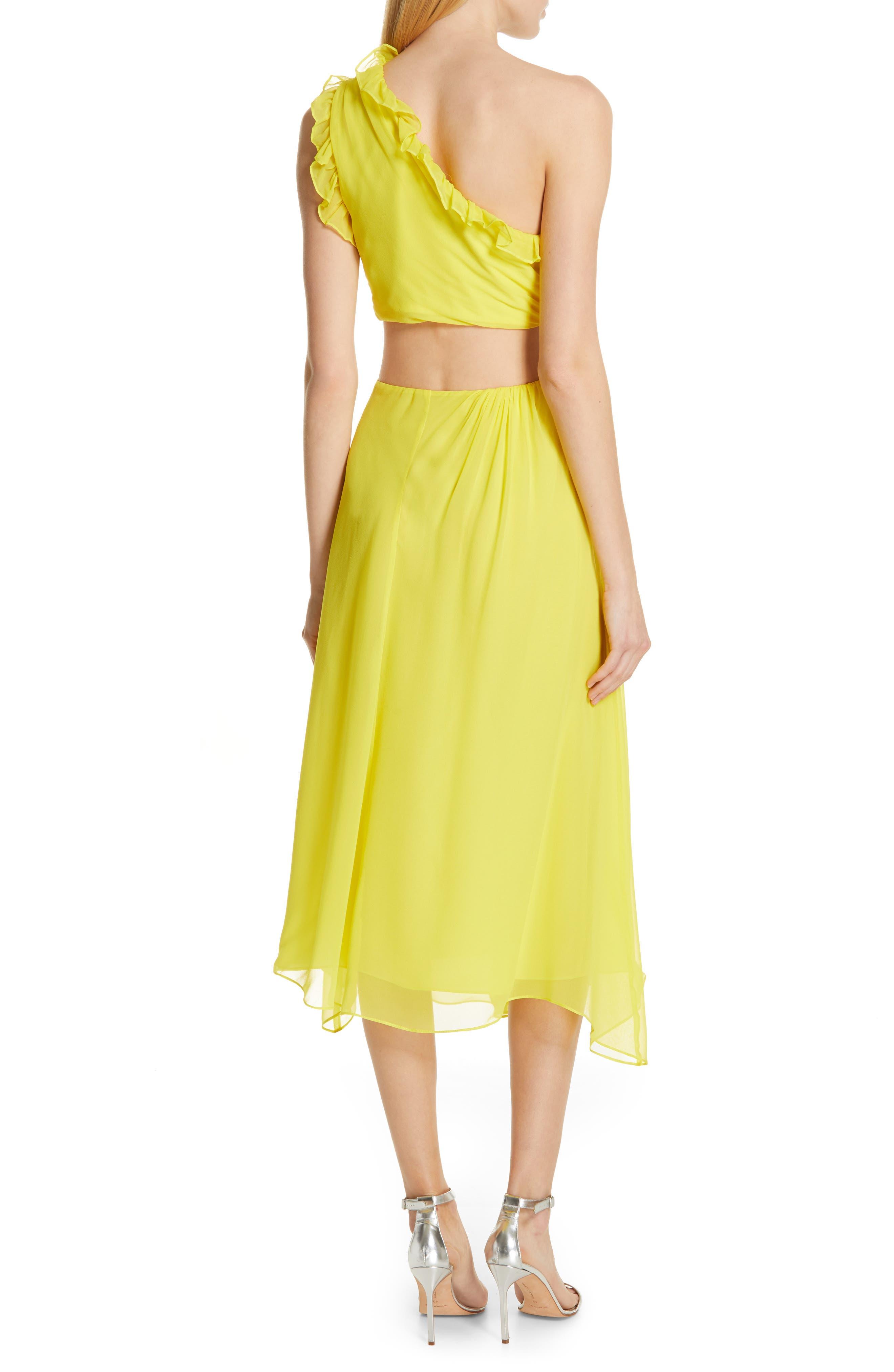 ,                             Corinne One-Shoulder Silk Dress,                             Alternate thumbnail 2, color,                             BLAZING YELLOW