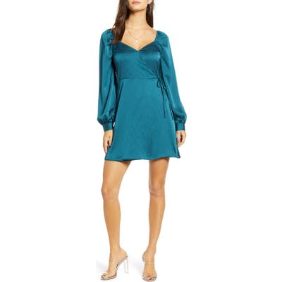 All In Favor Sweetheart Neck Satin Wrap Dress, Blue/green