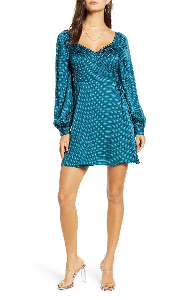 ALL IN FAVOR Sweetheart Neck Satin Wrap Dress, Main, color, TEAL/ WHITE