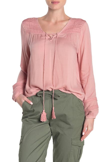 Image of Forgotten Grace Lace-Up Neck Pintuck Blouse