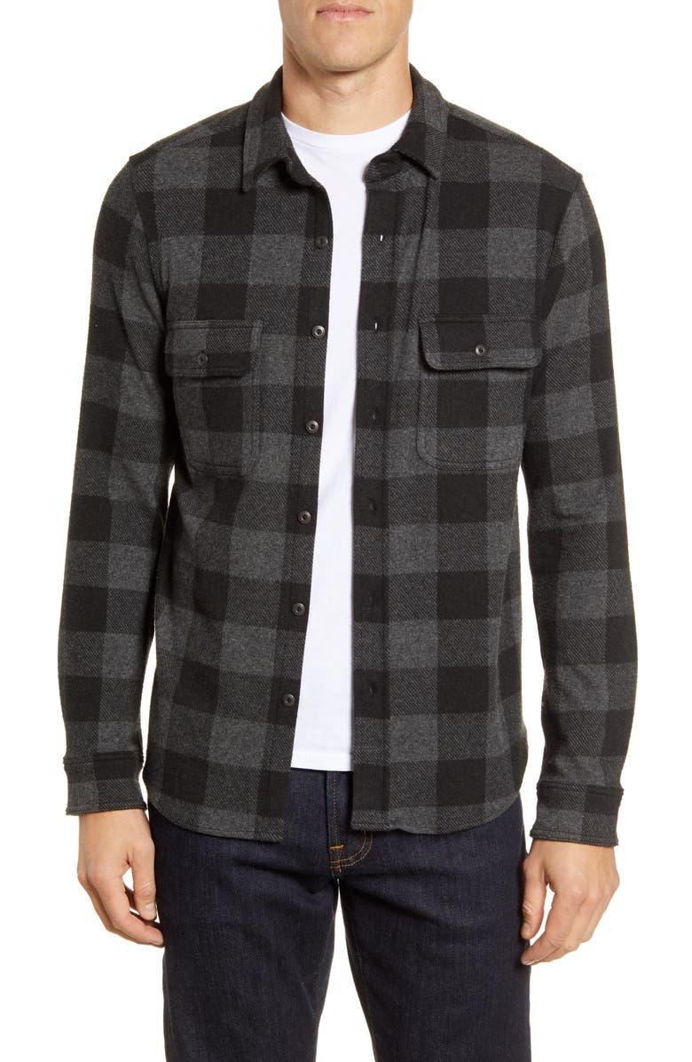FAHERTY Legend Long Sleeve Plaid Button-Up Sweater Shirt, Main, color, CHARCOAL BLACK BUFFALO