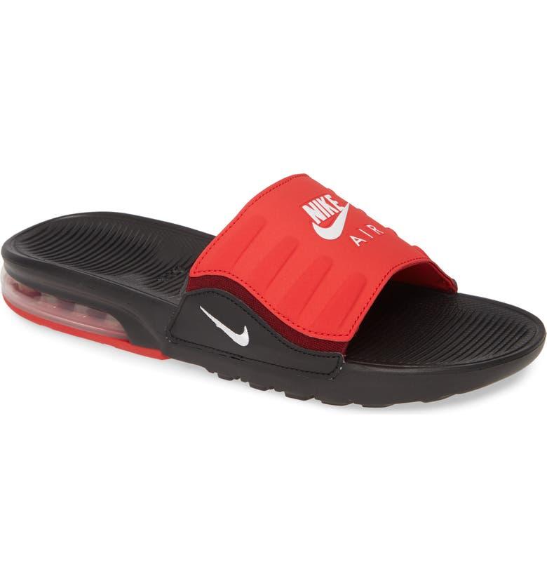 NIKE Air Max Camden Sport Slide, Main, color, BLACK/ WHITE/ UNIVERSITY RED