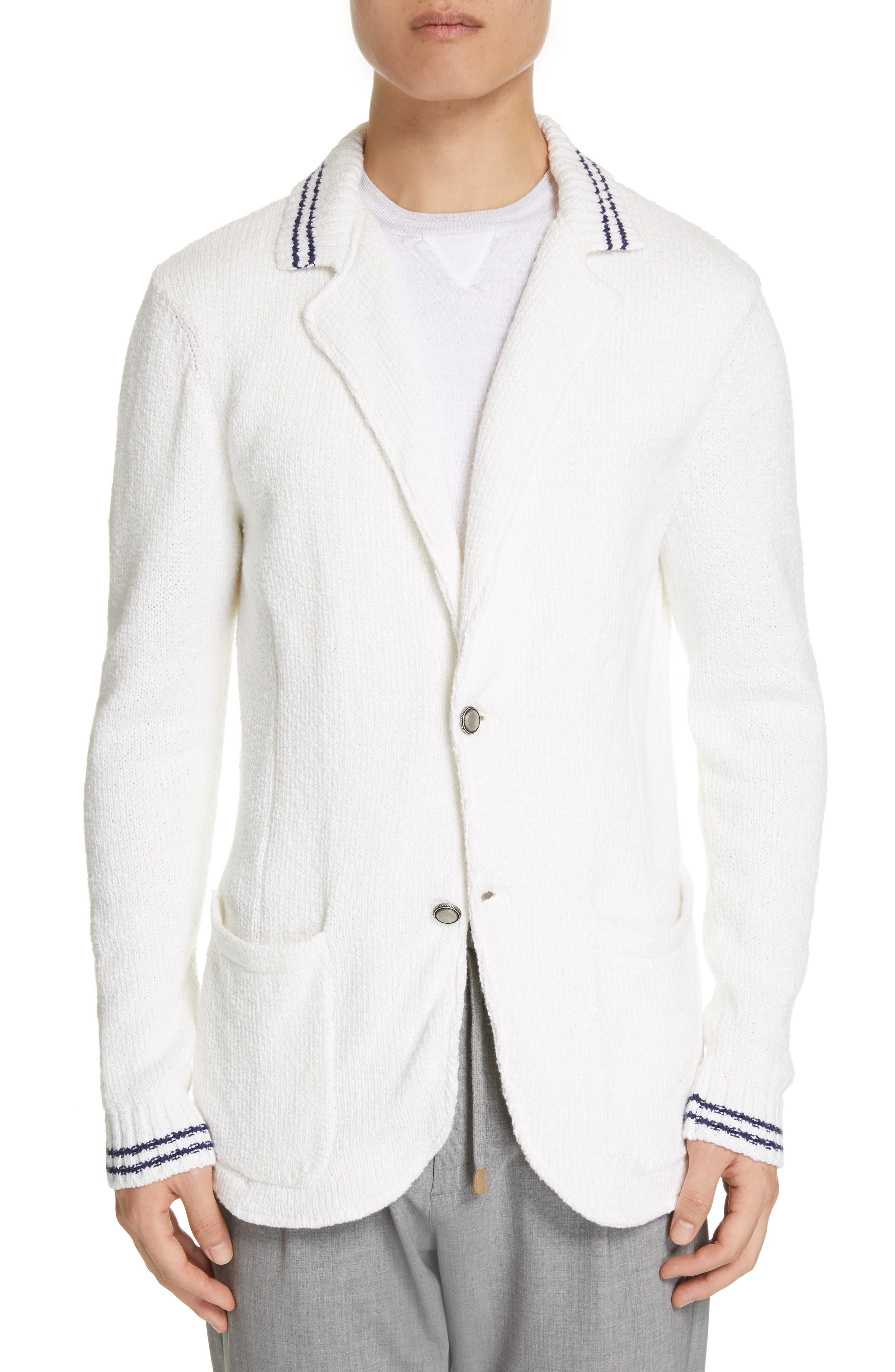 Eleventy Stripe Cotton Two-Button Cardigan, White