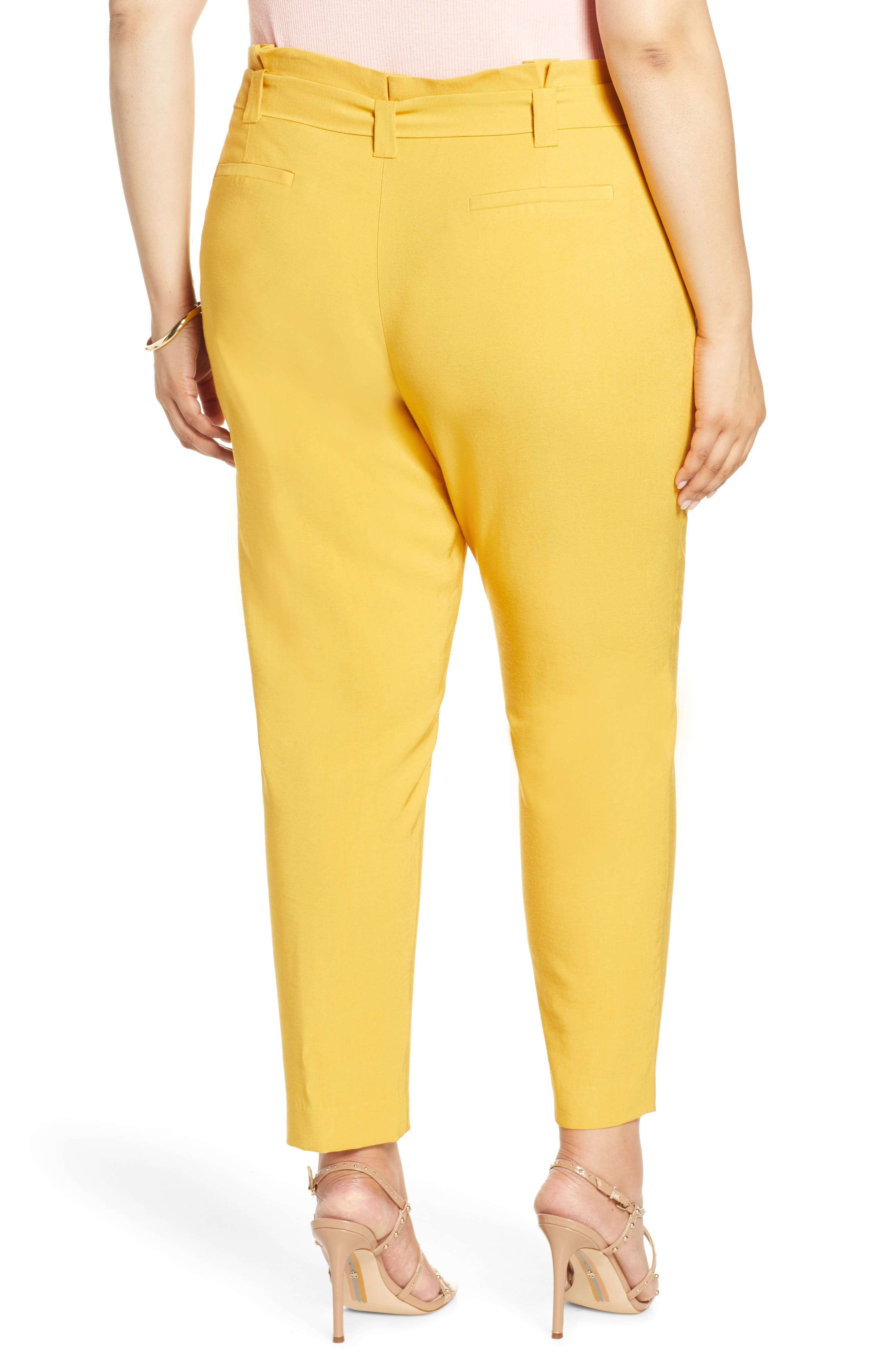 ,                             High Waist Tie Twill Pants,                             Alternate thumbnail 2, color,                             YELLOW MINERAL