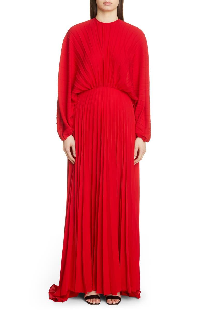 VALENTINO Soleil Plissé Silk Gown, Main, color, ROSSO