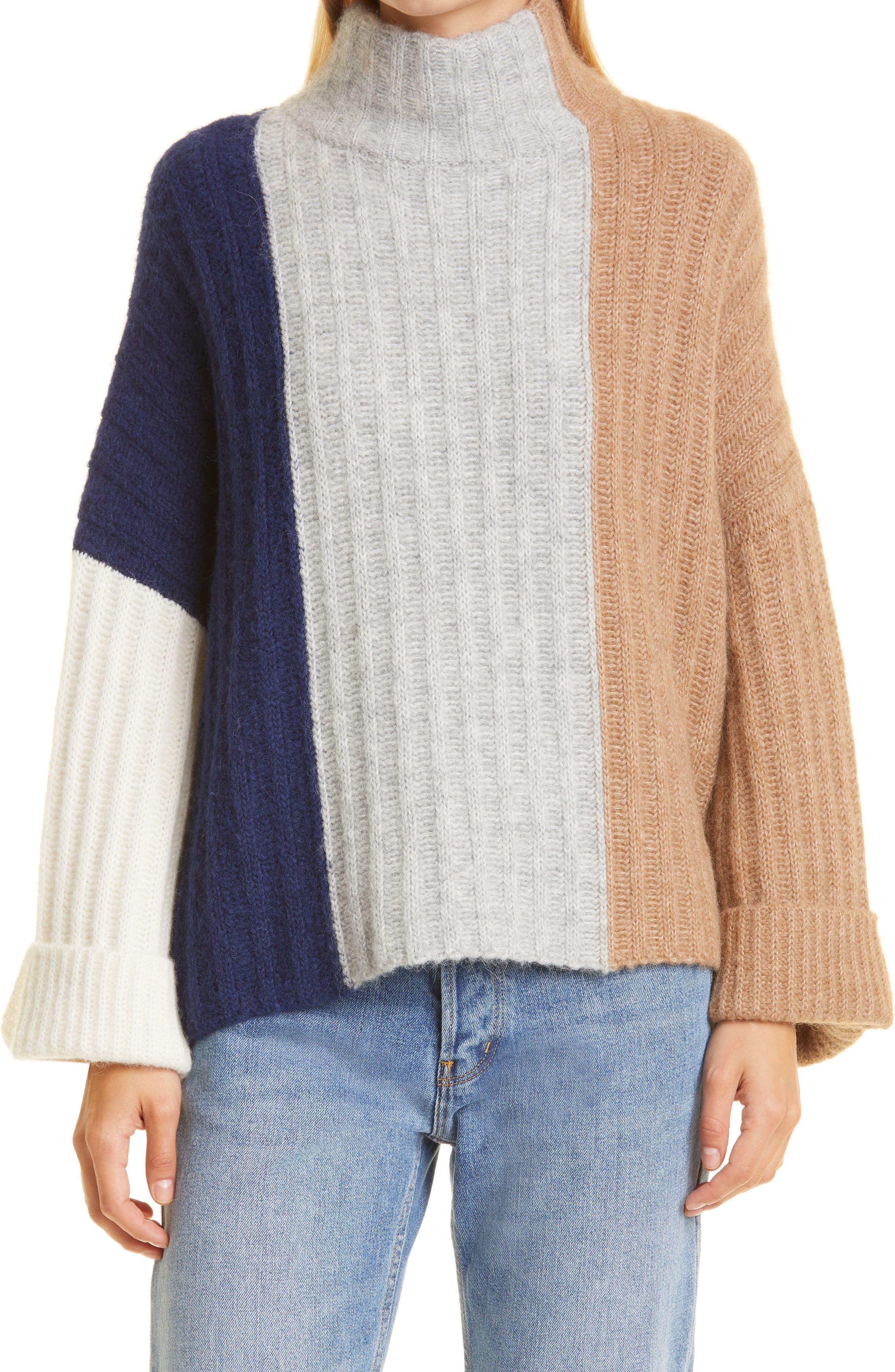 Talia Mock Neck Alpaca Blend Poncho Sweater