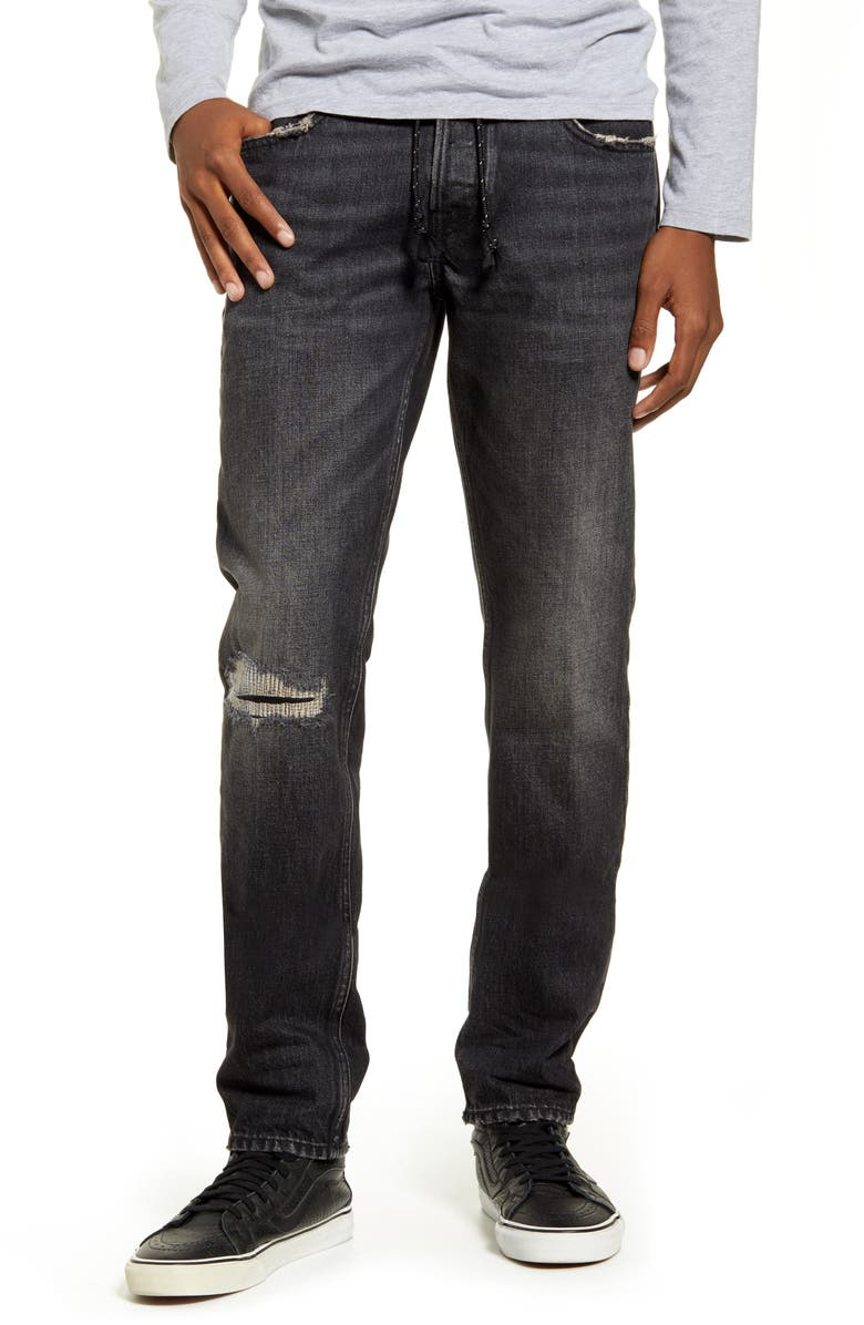 HUDSON JEANS Blake Distressed Slim Fit Straight Leg Jeans, Main, color, VARSITY