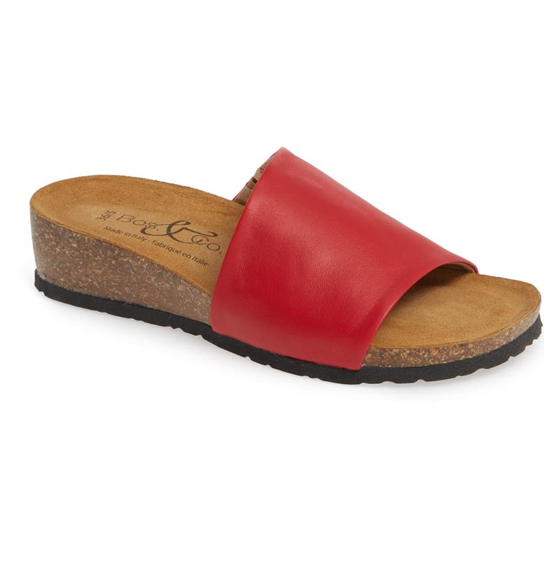 BOS. & CO. Lux Slide Sandal, Main, color, RED NAPPA LEATHER