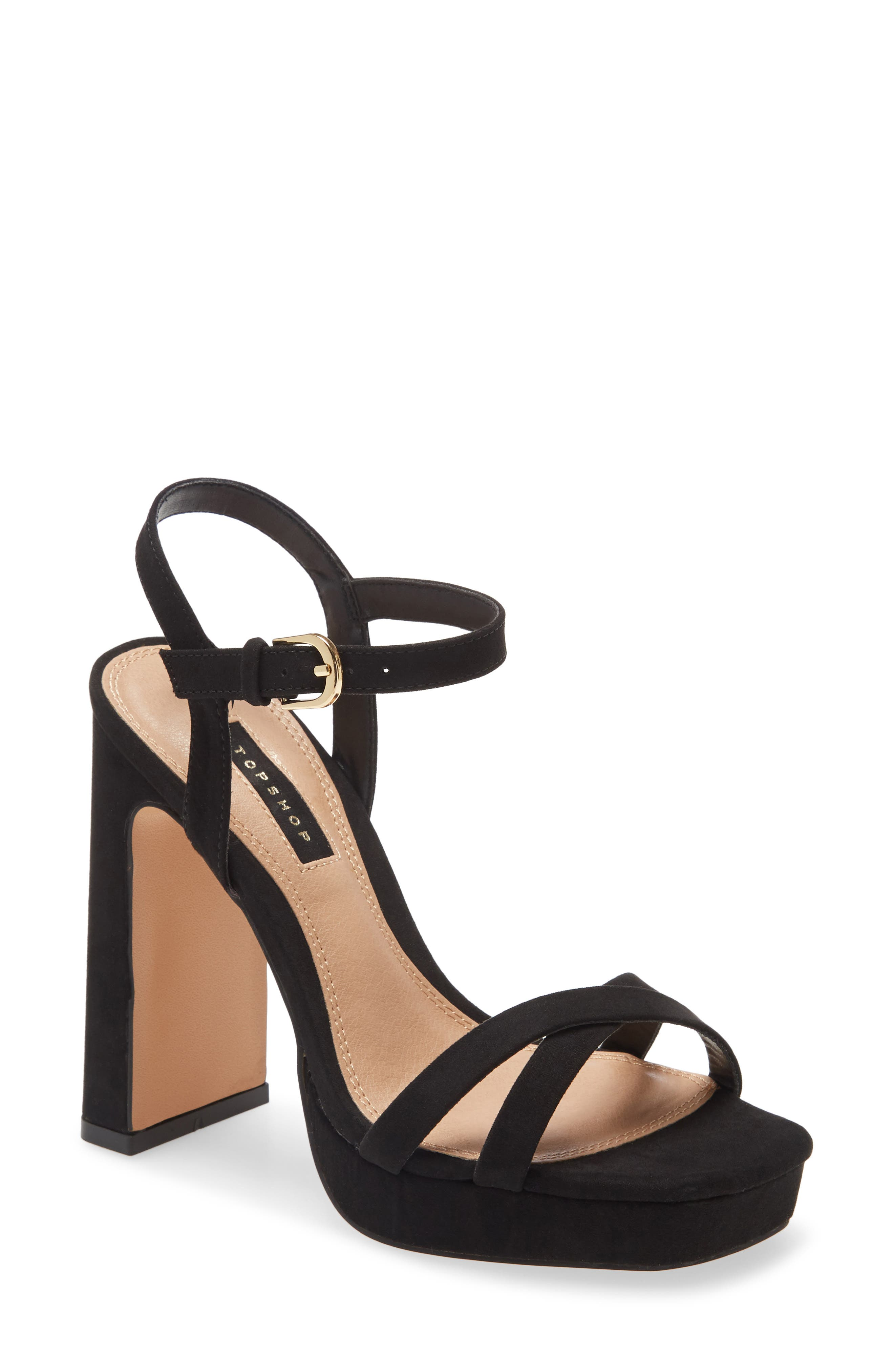 A lofty block heel and platform sole make this strappy sandal a retro-chic standout. Style Name: Topshop Sienna Platform Sandal (Women). Style Number: 6037833. Available in stores.