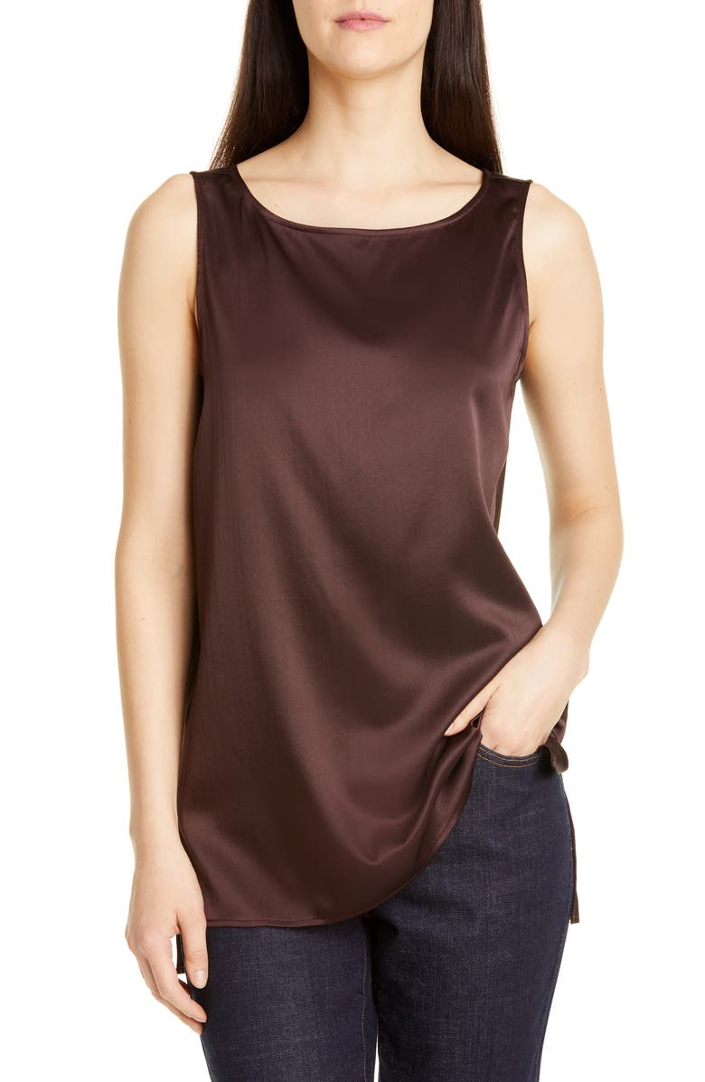 EILEEN FISHER High/Low Silk Stretch Shell, Main, color, 211