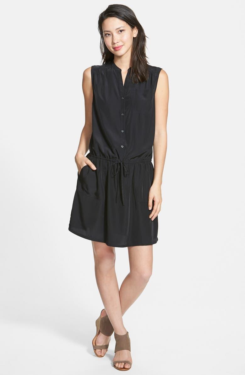 CASLON<SUP>®</SUP> 'Ria' Drawstring Waist Dress, Main, color, 001