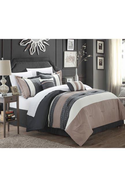Image of Chic Home Bedding Coralie Queen Non Kit Comforter 6-Piece Set, Taupe