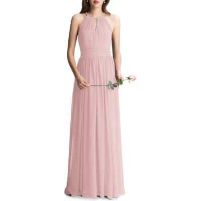 #levkoff Keyhole Chiffon A-Line Gown, Pink