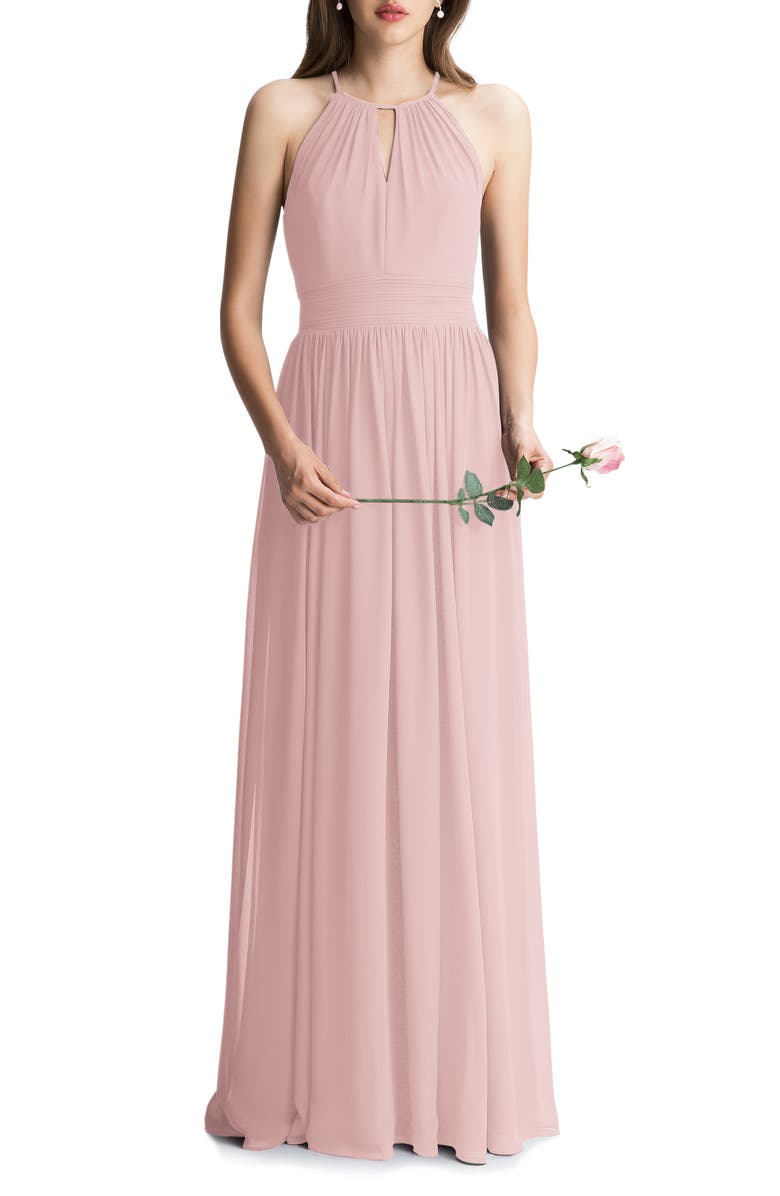 #LEVKOFF Keyhole Chiffon A-Line Gown, Main, color, FROST ROSE