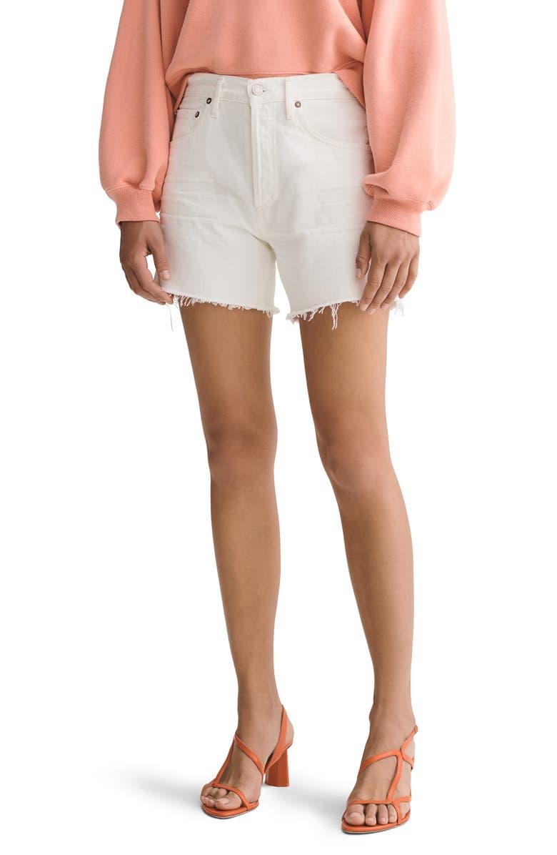 AGOLDE Reese High Waist Denim Shorts, Main, color, TISSUE