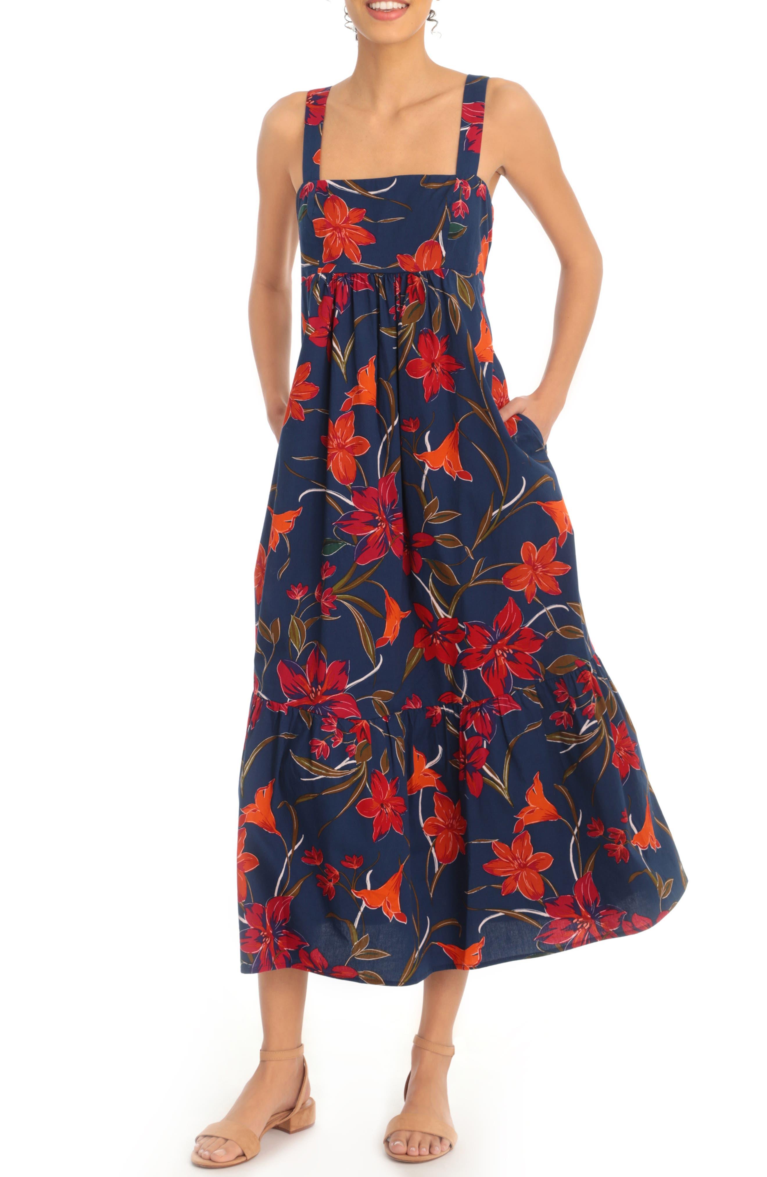 Image of London Times Lily Fest Square Neck Midi Dress