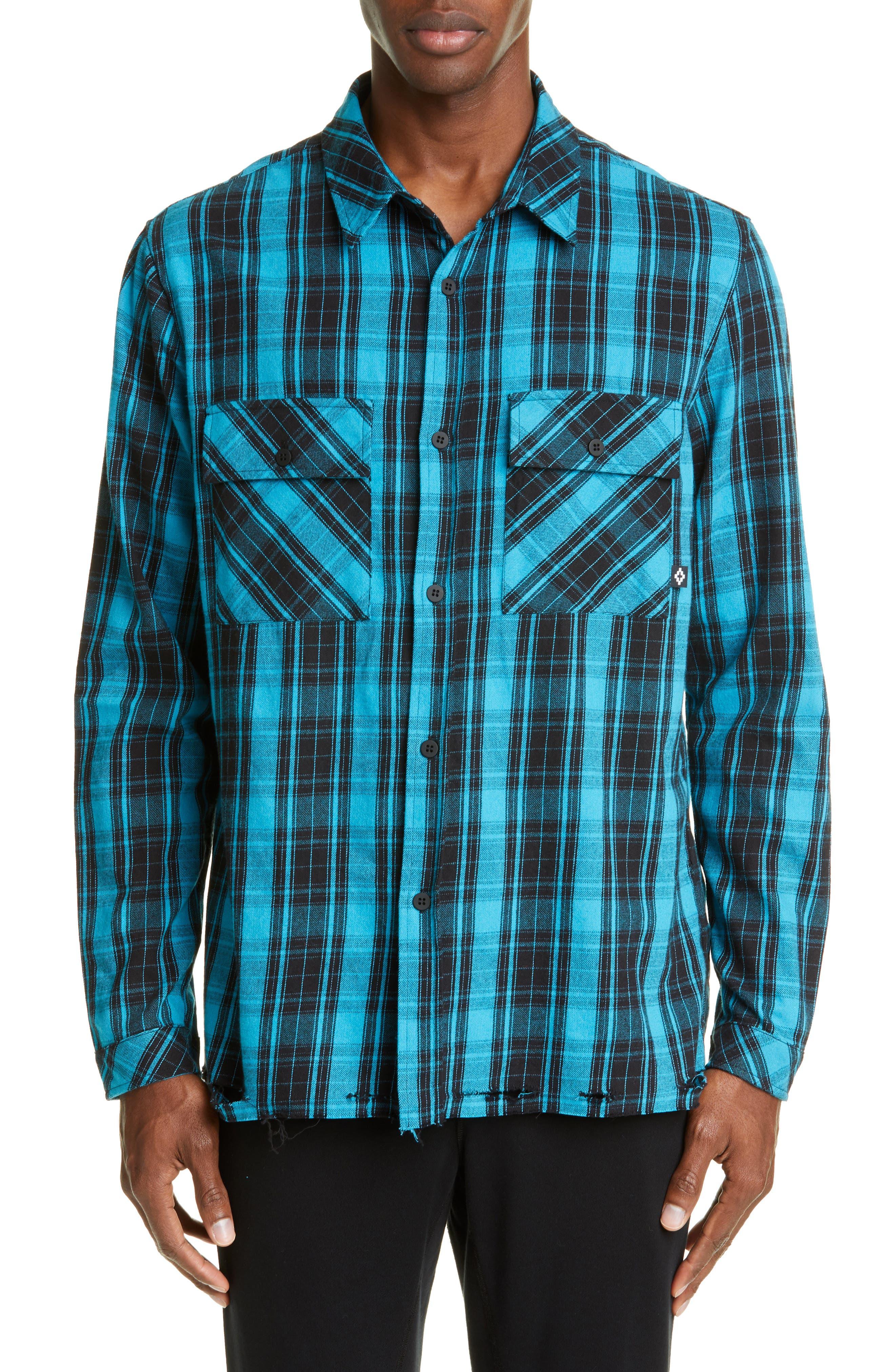 Marcelo Burlon County Check Plaid Button-Up Flannel Shirt, Blue