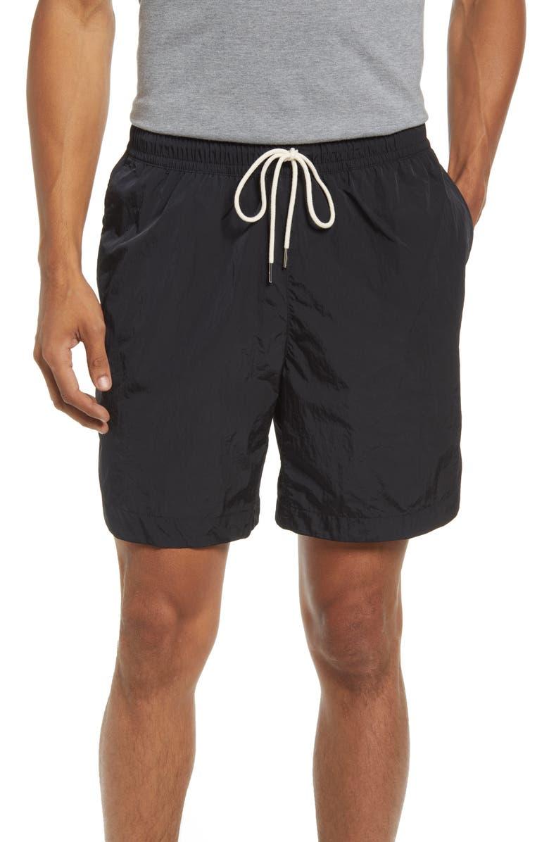 NIKE Sportswear Style Essentials Water Repellent Nylon Shorts, Main, color, BLACK/ SAIL/ ICE SILVER/ BLACK