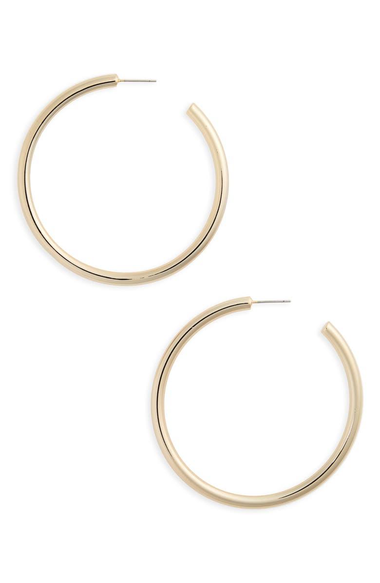 HALOGEN<SUP>®</SUP> Large Sleek Tube Hoop Earrings, Main, color, GOLD