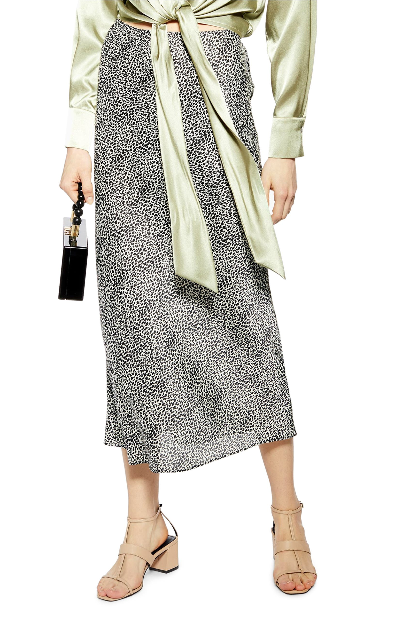 search for authentic newest style good service Animal Spot Bias Midi Skirt