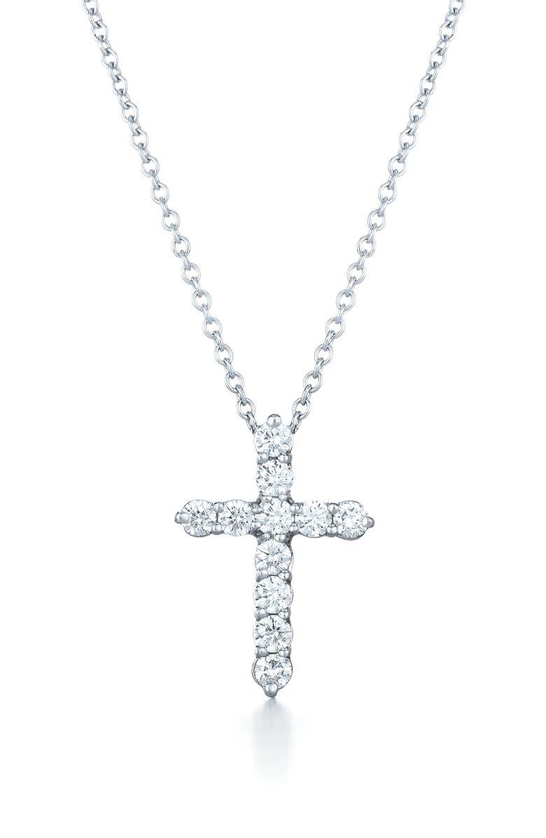KWIAT Faith Cross Pendant Necklace, Main, color, WHITE GOLD
