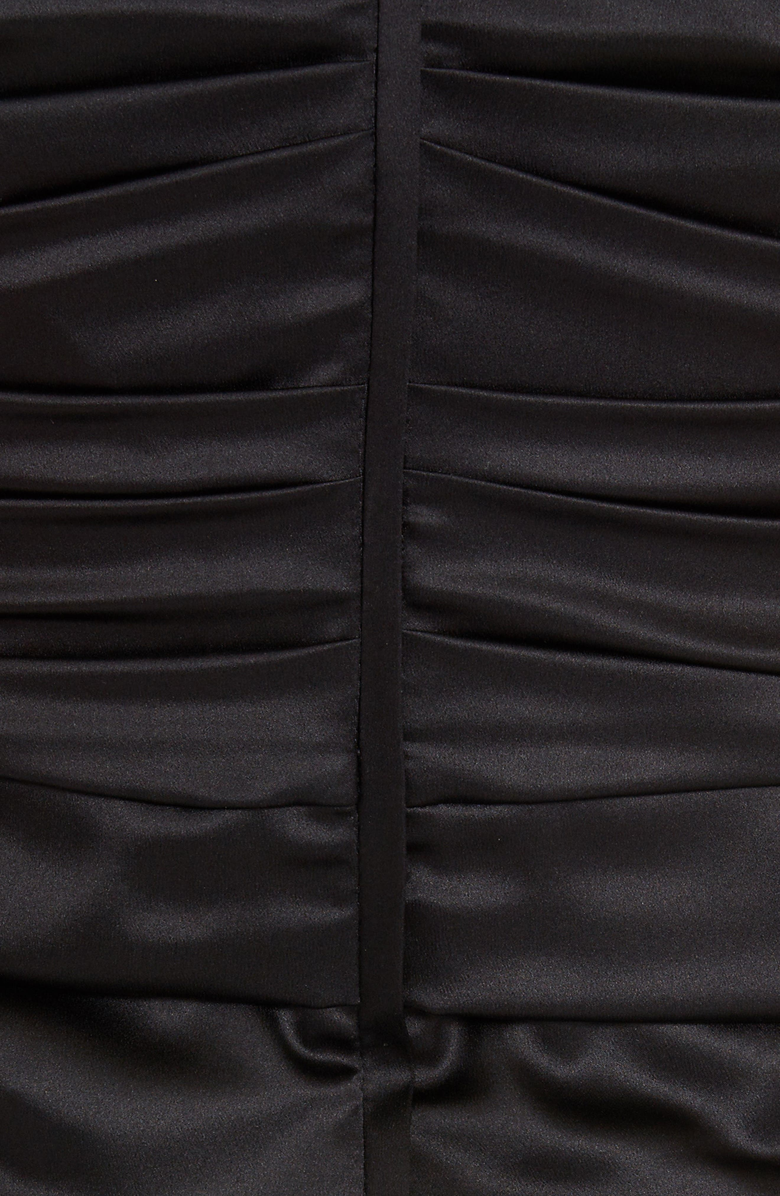 ,                             Ruched Stretch Silk Satin Body-Con Dress,                             Alternate thumbnail 5, color,                             BLACK