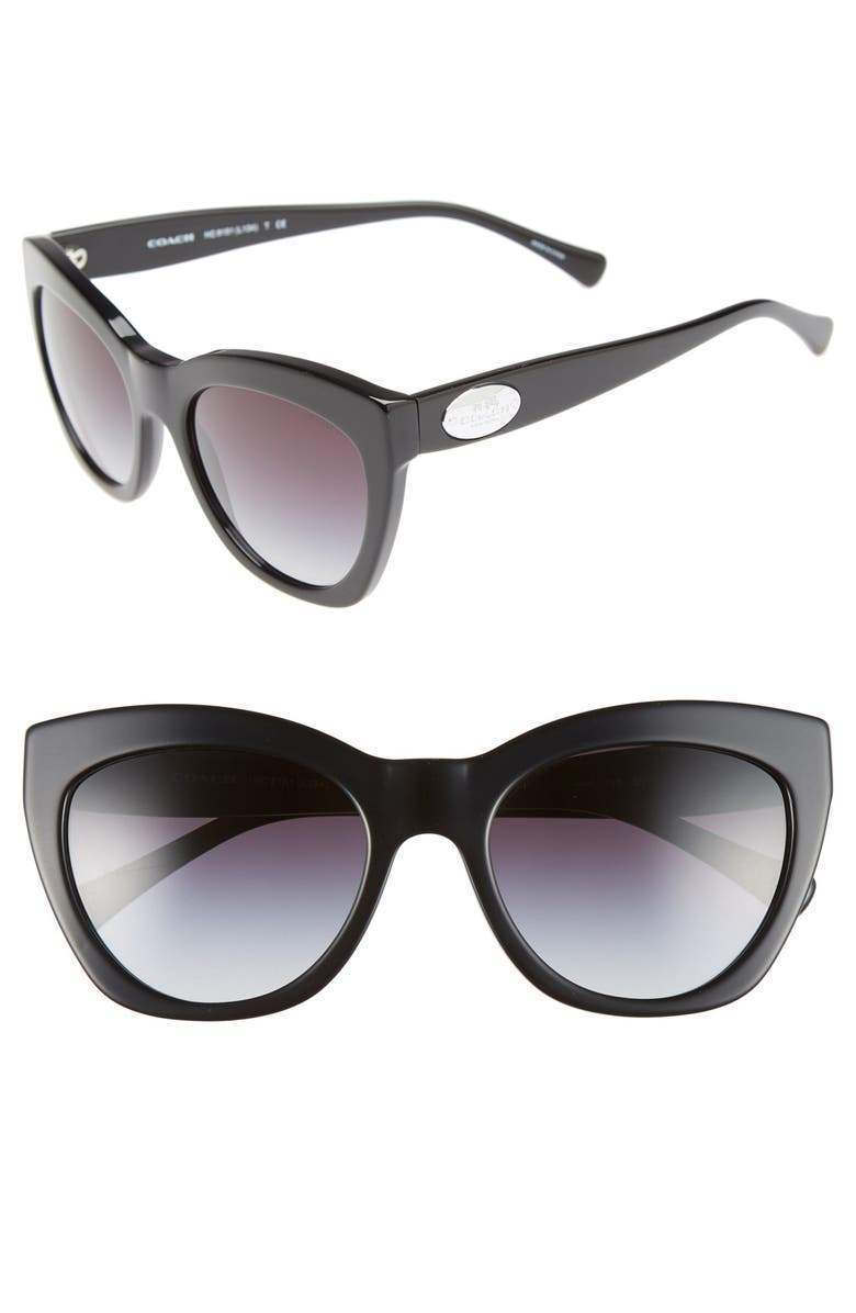COACH 54mm Retro Sunglasses, Main, color, 001