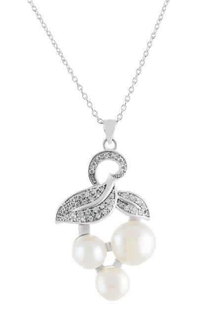 Image of Splendid Pearls Pave CZ & 7.5-9mm Triple Cultured Freshwater Pearl Pendant Necklace