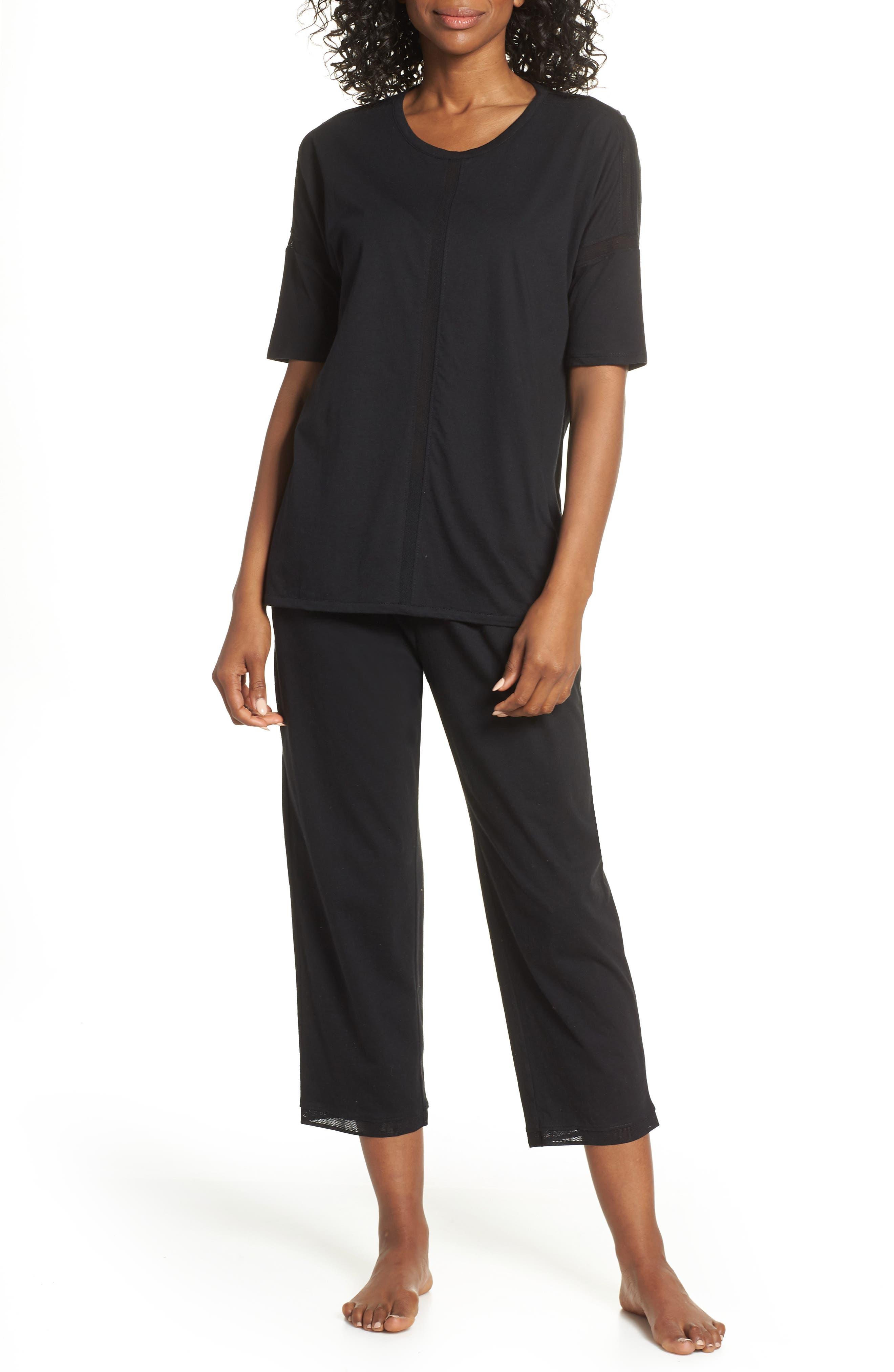 ,                             Crop Pajamas,                             Main thumbnail 1, color,                             BLACK