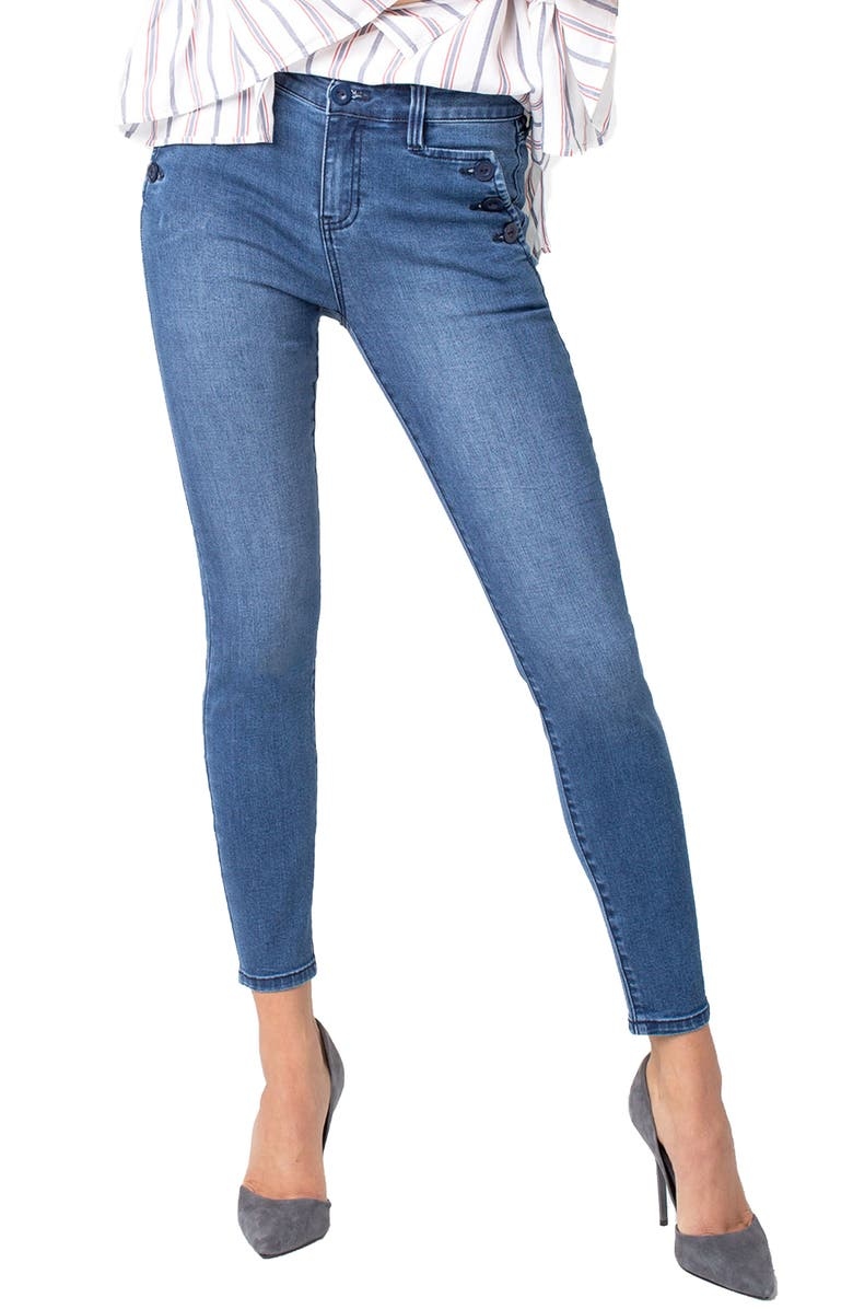 LIVERPOOL Sailor Button Ankle Skinny Jeans, Main, color, 401
