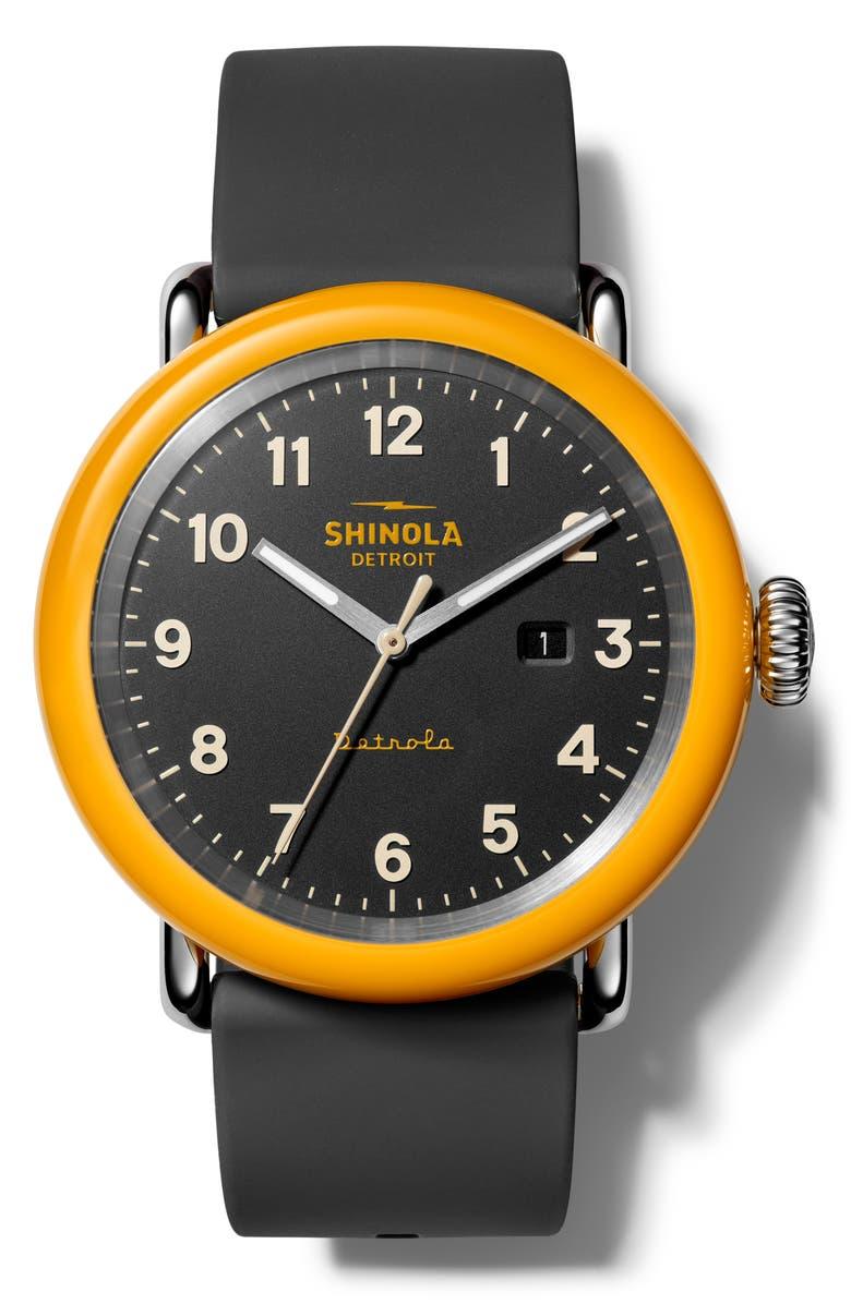 SHINOLA Detrola Silicone Strap Watch, 43mm, Main, color, 001