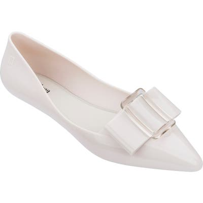 Melissa Pointy Iii Jelly Flat, White
