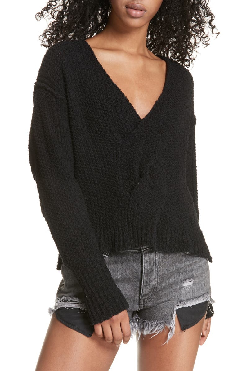 FREE PEOPLE Coco V-Neck Sweater, Main, color, 001