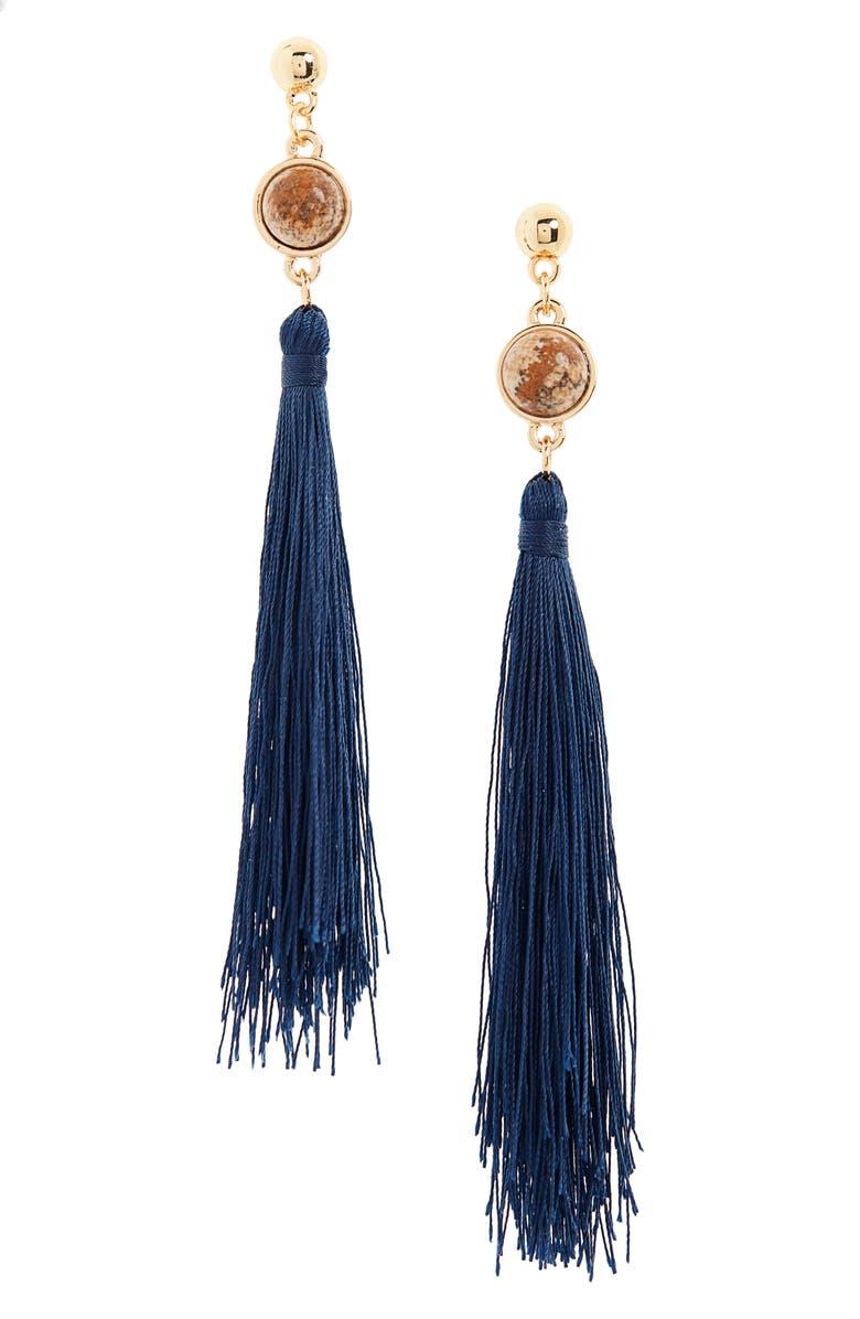 UNCOMMON JAMES BY KRISTIN CAVALLARI Strawberry Fields Jasper Tassel Earrings, Main, color, GOLD/ NAVY
