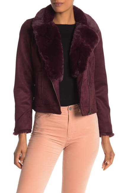 Image of Catherine Catherine Malandrino Faux Fur Trimmed Faux Suede Moto Jacket