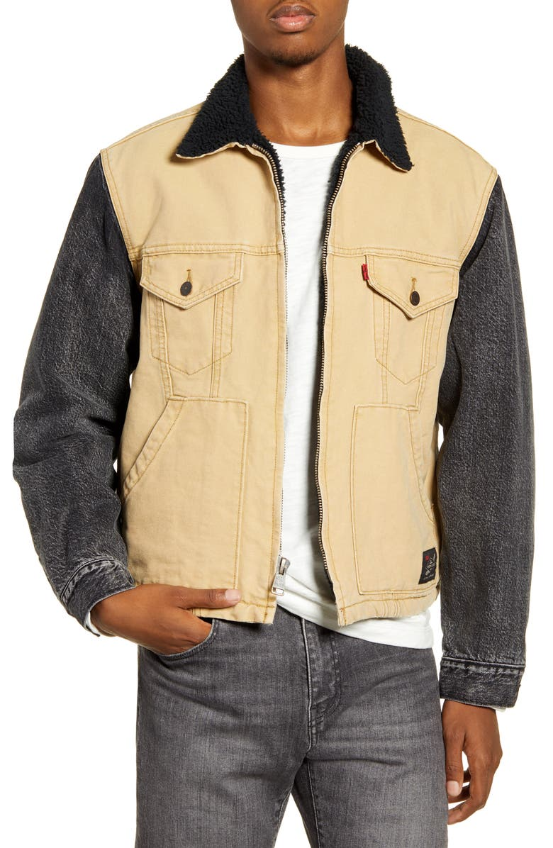 LEVI'S<SUP>®</SUP> x Justin Timberlake Hybrid Fleece Lined Trucker Jacket, Main, color, CORD CANVAS