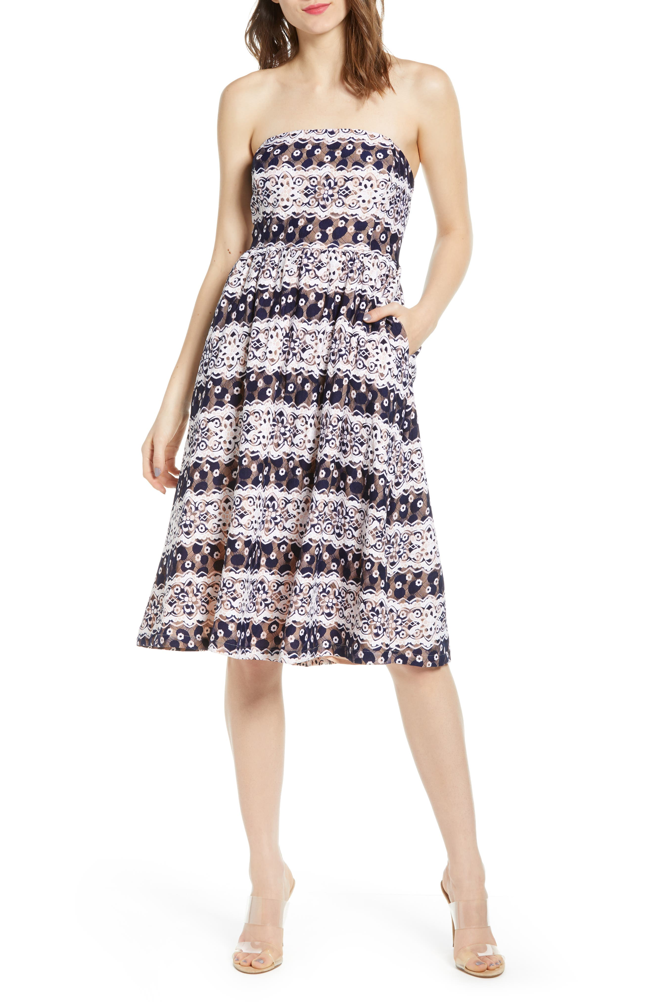 Endless Rose Strapless Lace Dress, Blue