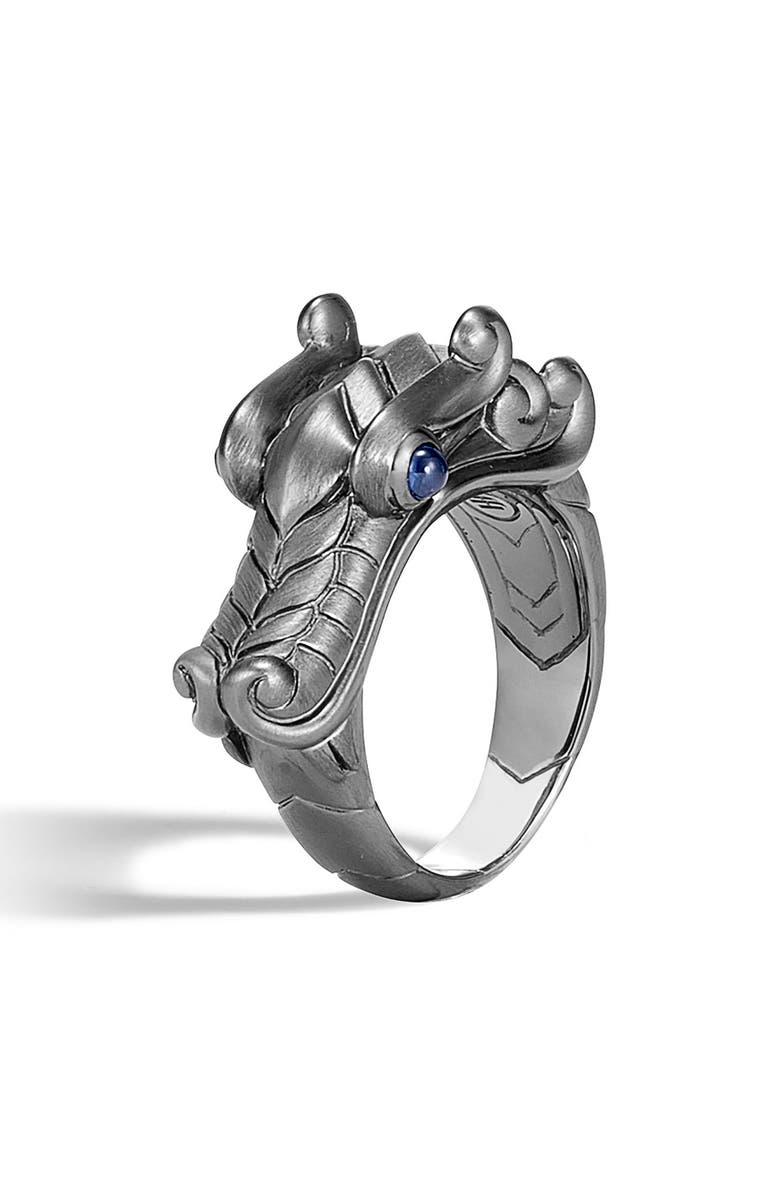 JOHN HARDY Men's Legends Naga Ring, Main, color, SILVER/ BLACK RHODIUM